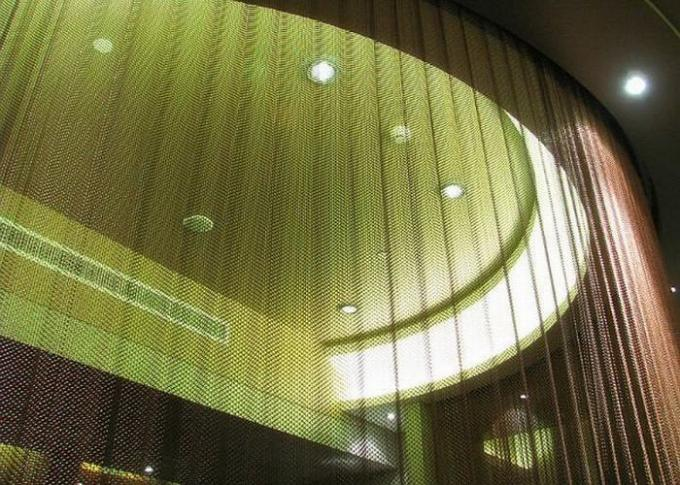 Decorative Metal Mesh Curtains Lightweight For Hotel / Lobby Gold / Gunmetal