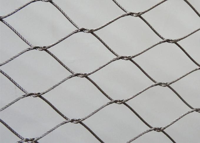 Diamond Shape Knotted Rope Mesh , Stainless Steel Wire Mesh For Bird Cages
