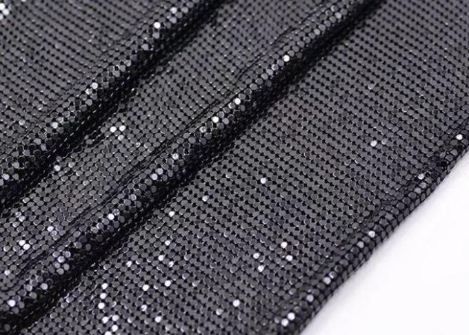 Decorative Shiny Metal Sequin Fabric , Metal Mesh Fabric For Clothing