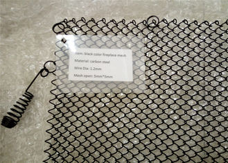 Black Metal Coil Drapery / Heat Resistant Fireplace Spark Screen Mesh Curtains