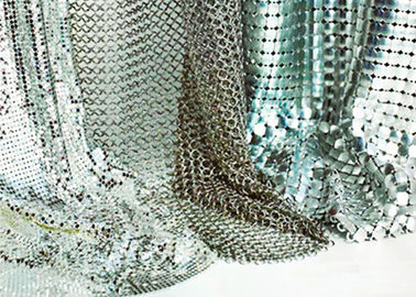 Shape Customized Shiny Metallic Fabric , Versatility Metal Mesh Cloth Smooth Surface