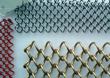 Chain Link Metal Mesh Curtains Corrosion Resistance With Length / Width Customized
