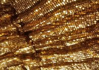 Golden Metal Shimmer Sequin Metallic Mesh Fabric Cloth For Room Divider Curtains
