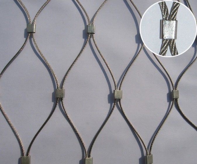 7*7 / 7*19 Stainless Steel Architectural Mesh , Ferruled Stainless Steel Rope Mesh
