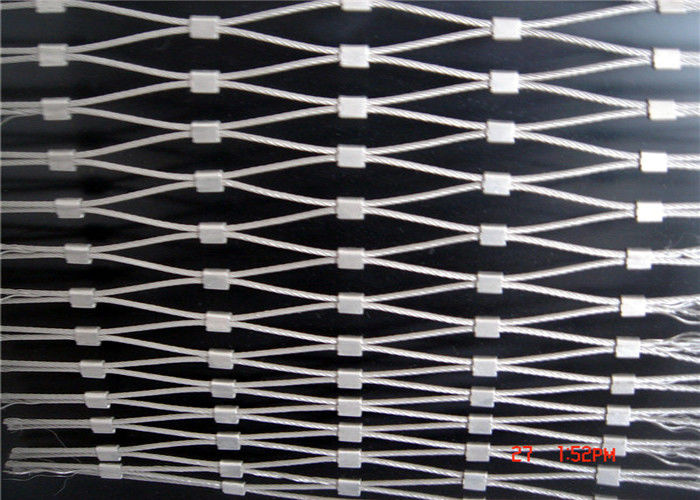 SS316 Ferrule Wire Rope Mesh , Size Customized Stainless Steel Rope Mesh