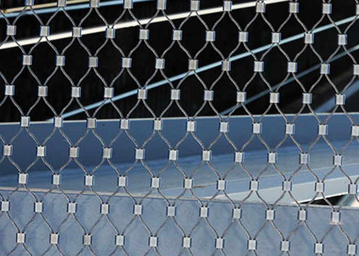 Ferruled Stainless Steel Wire Rope Mesh For Decoration AISI 316 Diamond Shape